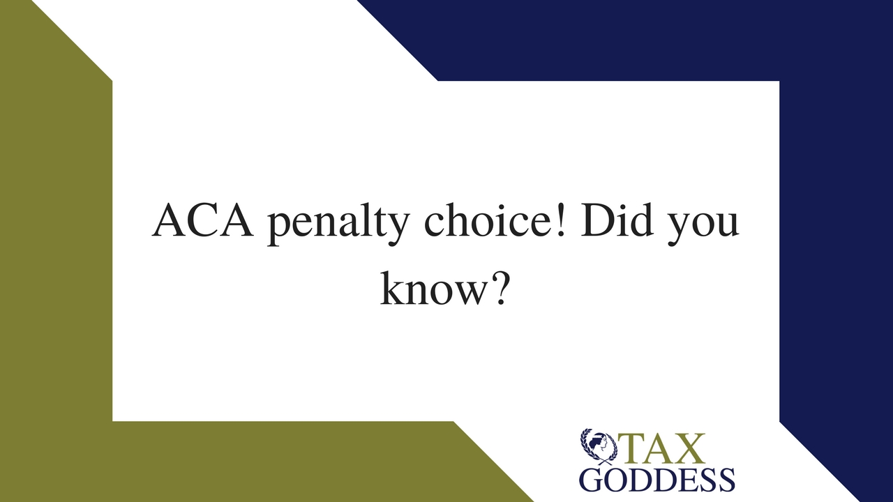 ACA Penalty Is A Choice! Cool!!